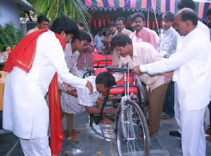 Gifting of hand-driven cycles to the handicapped